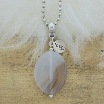 ketting ball chain edelsteen grey opal agaat