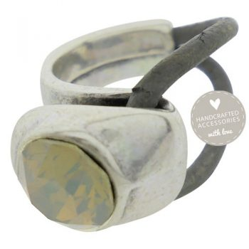 ring antique zilver swarovski grey opal