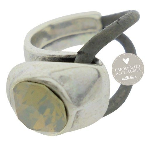 ring antique zilver swarovski grey opal