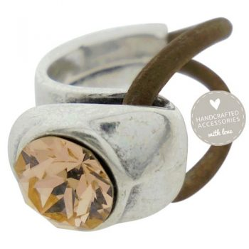 ring antique zilver swarovski peach