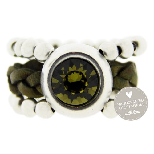 exclusive collection ring antique zilver swarovski khaki