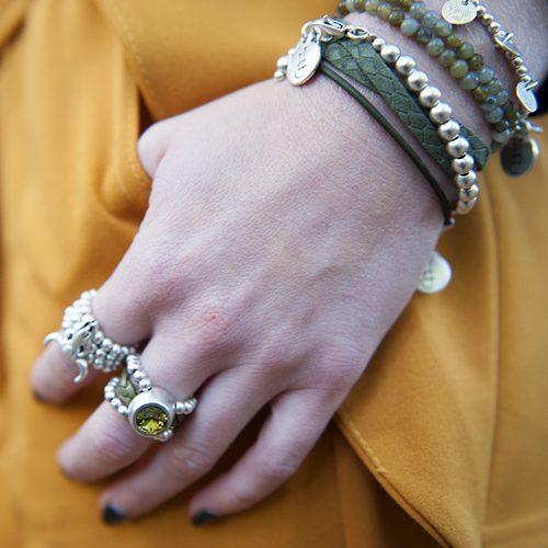 armbanden set leer, zilver handgemaakt by LJ